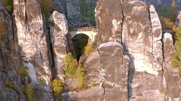 Thumbnail for The Bastei Rock Formation and Bridge Crossing the Towering Landmark