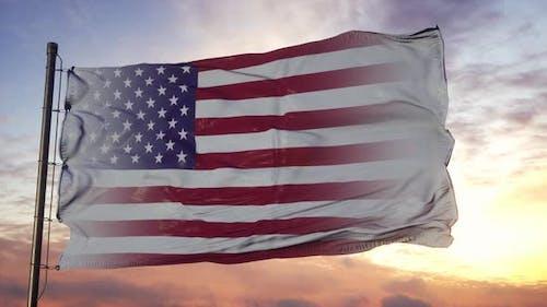 Illinois and USA Flag on Flagpole