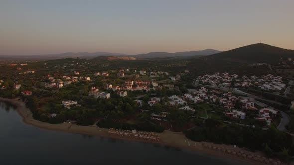 Thumbnail for Cottages on Sea Shore of Trikorfo Beach in Greece, Aerial