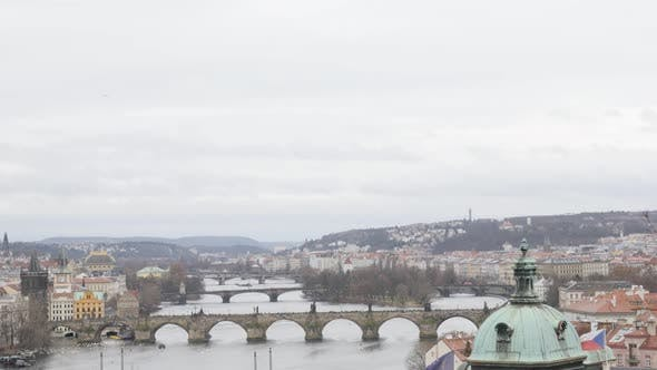 Thumbnail for Cloudy day  cityscape of Czech Republic  Prague slow tilt 3840X2160 UHD footage - Tilting on rooftop
