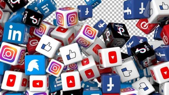 Social Media Icons Transition - Facebook,Twitter,Youtube,Instagram,Linkedin,Pinterest,Tiktok,Like