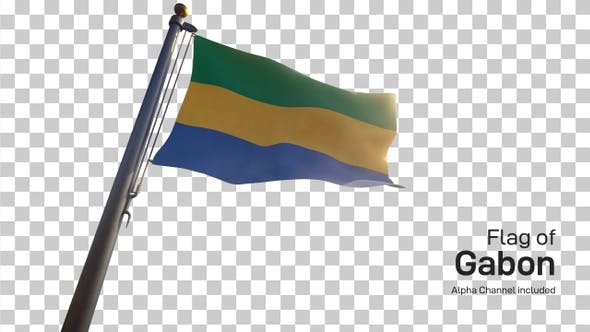 Thumbnail for Gabon Flag on a Flagpole with Alpha-Channel