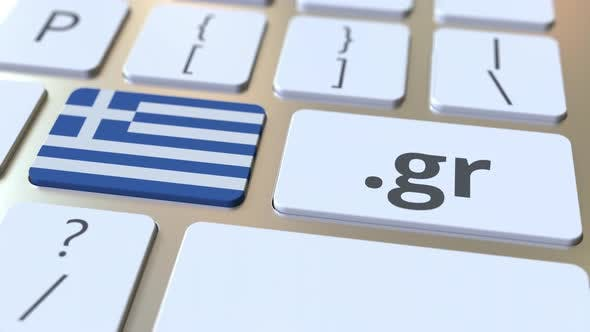 Thumbnail for Greek Domain .Gr and Flag of Greece on the Computer Keyboard