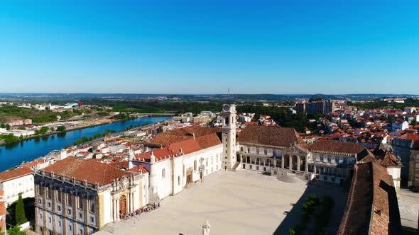 Coimbra, Portugal, aerial view of cityscape famous University of Coimbra and Clock Tower