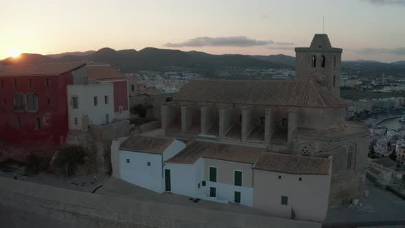 Thumbnail for Aerial View of the Old City on the Island of Ibiza During Sunset