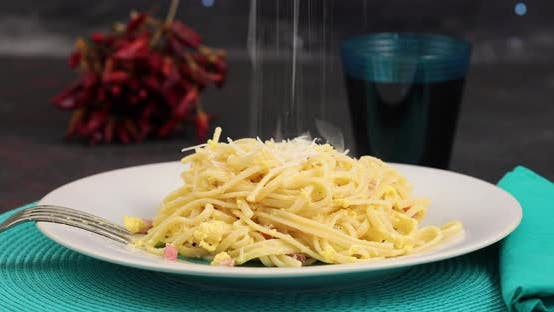 Thumbnail for Pecorino cheese on spaghetti alla carbonara