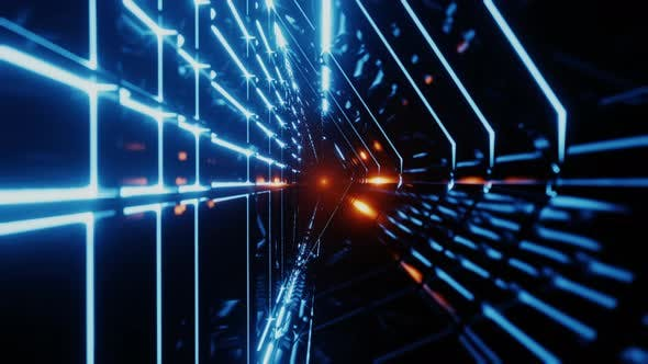 Thumbnail for Endless Futuristic Space Tunnel with Neon Lights