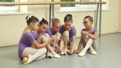 Pretty Balletdancers and Ballet Studio
