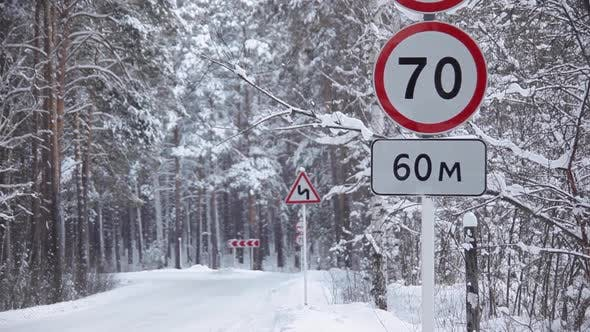 Thumbnail for Prohibitory Road Signs on Winter Road