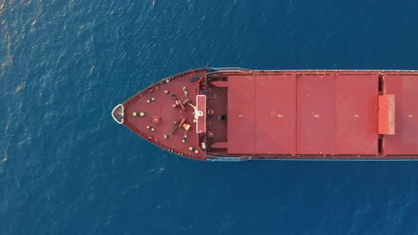 Freight Ship Floating on Sea, Aerial View