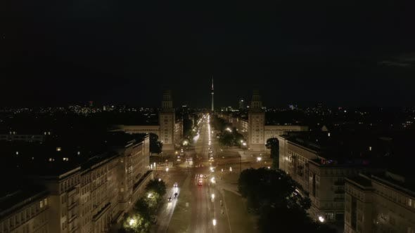 Thumbnail for Aerial View of Empty Karl-Marx-Allee Street at Night in Berlin, Germany During COVID 19 Coronavirus
