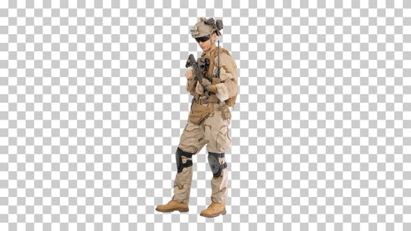 United states Marine Standing And Talking, Alpha Channel
