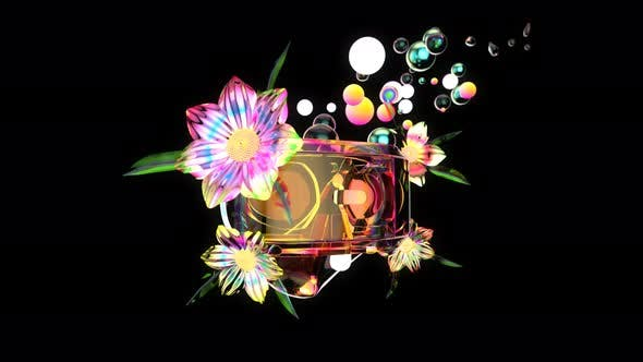 4K abstract art of a headset with flowers and bubbles