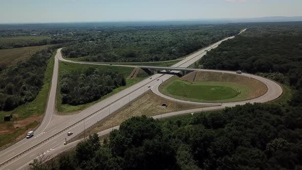 Thumbnail for Aerial View of Cloverleaf Highway Road Junction in the Countryside with Trees