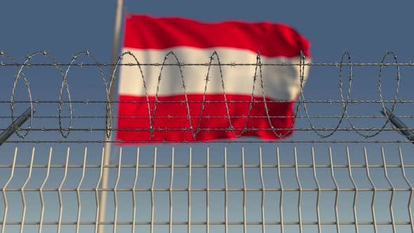 Thumbnail for Waving Flag of Austria Behind Barbed Wire Fence