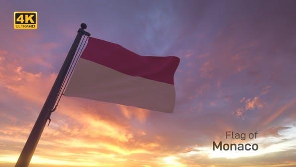 Thumbnail for Monaco Flag on a Flagpole V3 - 4K