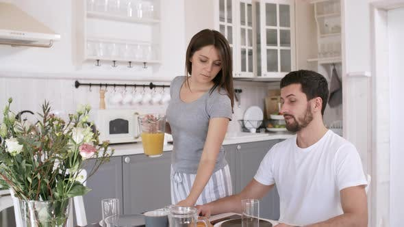 Thumbnail for Man and Woman Having Breakfast in Morning