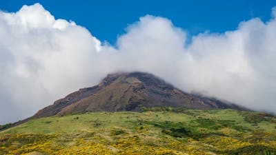 Stromboli Volcano and Clouds, Italy