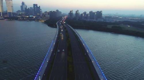 Aerial Orbital View on the Road Bridge in the Modern City