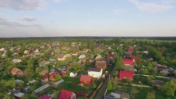 Thumbnail for Aerial Shot of Village, Highway and Green Nature in Russia