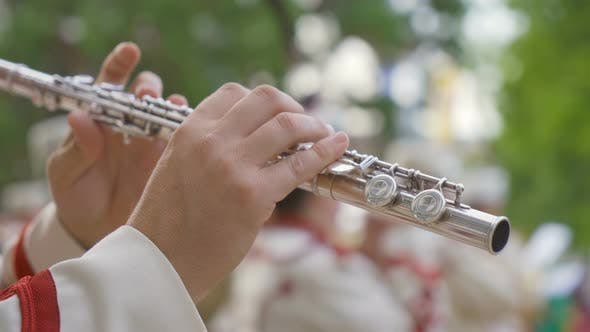 Flute Close Up Bulgarian Guards Brass Band Tradition