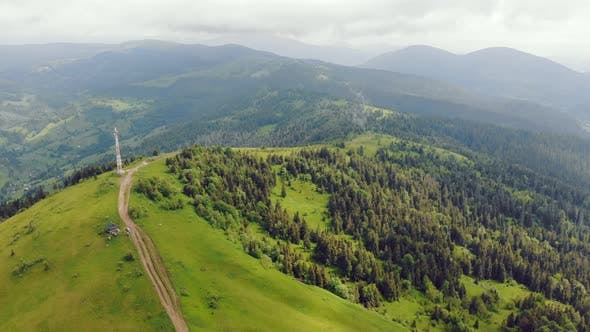 Aerial View Mountain Range on Which the Transmitting Station Is Located. Radar Network on Top of the