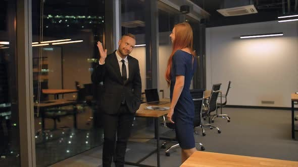 Thumbnail for Successful Business People Giving High Five in Office, Slow Motion