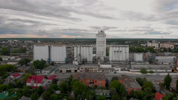 Thumbnail for Aerial Shot of Grain Storage, for Drying Grain Elevator, Old Building in Small European City