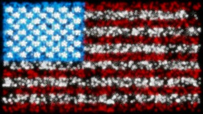 Loopable glittering and sparkling USA flag