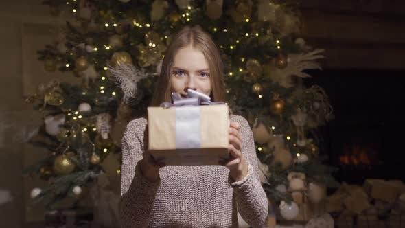 Thumbnail for Nettes junges Mädchen gibt ein Weihnachtsgeschenk. Hält eine Schachtel mit einem Geschenk an die Kamera und lächelt.