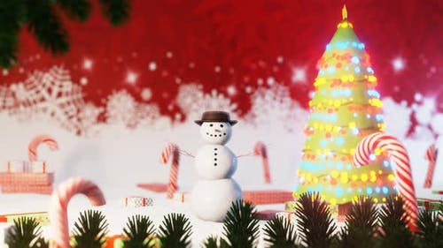 Christmas Holiday Background with Snowman Jumping