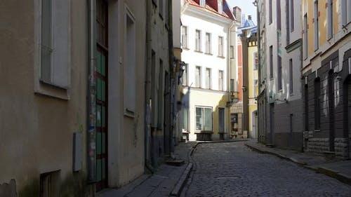 Empty Street of Tallinn City Old Town