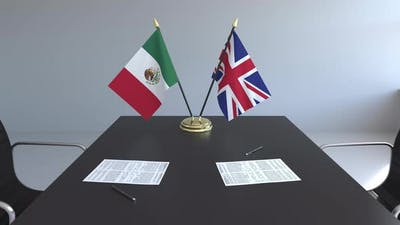 Flags of Mexico and the United Kingdom and Papers