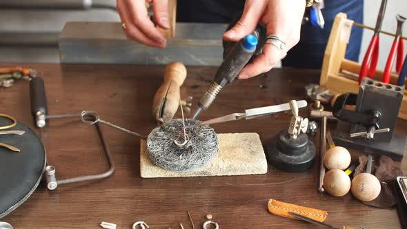 Thumbnail for Man Preparing Metal for a New Jewellery. Successful Jewelry Soldering