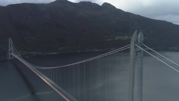 Thumbnail for Hardanger Bridge Across the Eidfjorden in Norway in Summer Day. Fjord and Mountains. Aerial View
