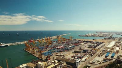 Panoramic View of the Port of Barcelona
