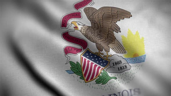 Illinois State Flag Close Up HD