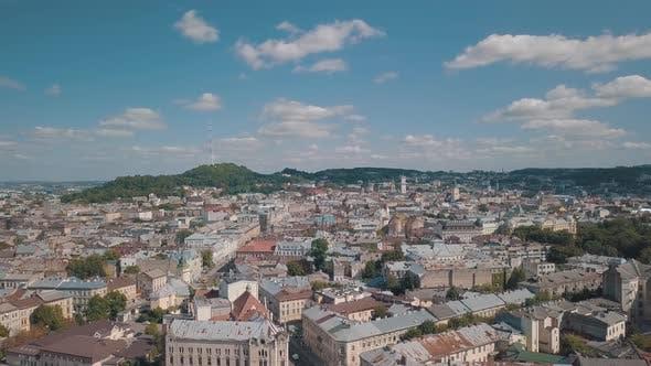 Thumbnail for Aerial City Lviv, Ukraine. European City. Central Part of Old European City