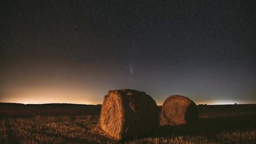 Comet Neowise C2020F3 In Night Starry Sky Above Haystacks In Summer Agricultural Field. Stars Above