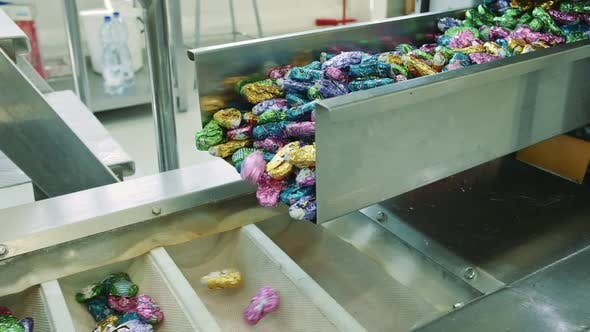 Thumbnail for Candy Factory. Sweets Spilling From Conveyor.