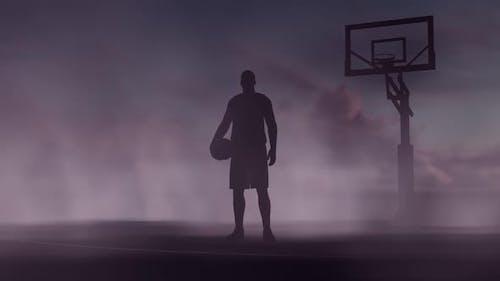 Basketballplatz und Spieler