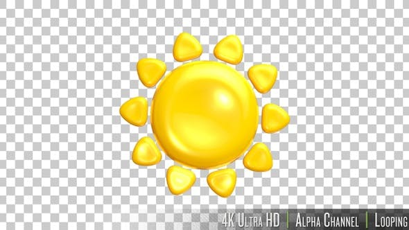 Thumbnail for 4K Sunny Summer 3D Emoji Icon on Alpha
