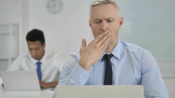 Thumbnail for Tired Grey Hair Businessman Yawning at Work