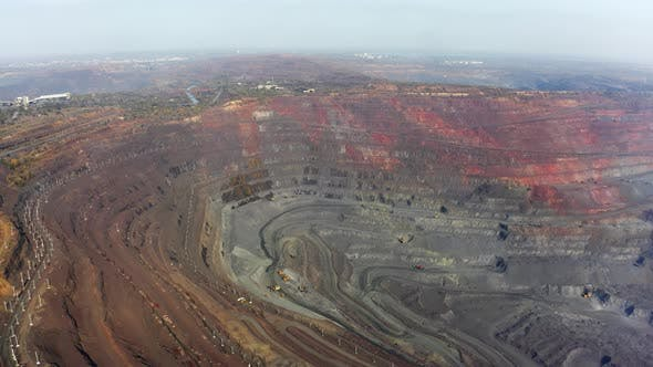 Aerial View of Southern Mining Factory Mine Quarry in Ukraine