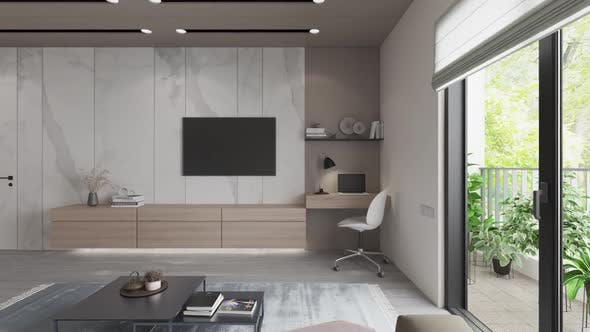 3D-Illustration. Apartment with living room and kitchen.