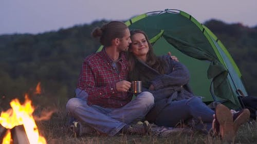 People Traveling To Nature, Couple Near Camp