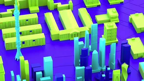 Thumbnail for 3D animation. Abstract colorful town background in bright rainbow colors.