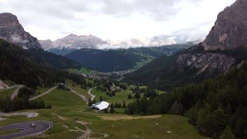 Corvara In Badia Aerial View In Dolomites
