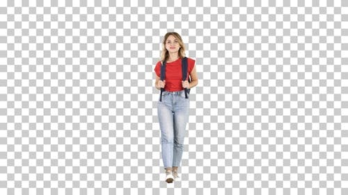 Woman hiking Young female model walking with backpack Alpha