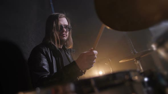 Thumbnail for Skillful Drummer Playing on Drums in Record Studio